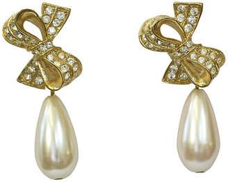 One Kings Lane Vintage Crystal Bow & Pearl Drop Earrings - Wisteria Antiques Etca