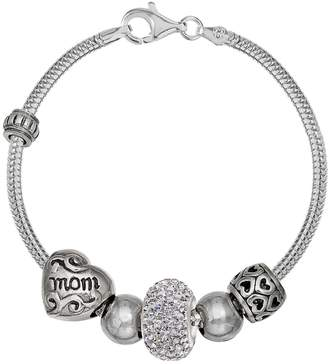"Individuality Beads Crystal Sterling Silver Snake Chain Bracelet & ""Mom"" Bead Set"