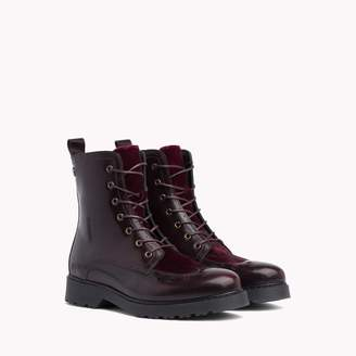 Tommy Hilfiger Leather and Velvet Brogue Boot