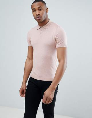 Asos DESIGN Knitted Polo T-Shirt In Dusty Pink