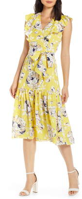 Eliza J Floral Ruffle Detail Crepe de Chine Fit & Flare Dress
