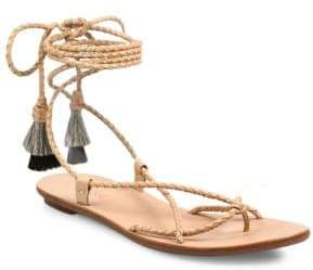 Loeffler Randall Bo Braided Leather Ankle-Wrap Sandals