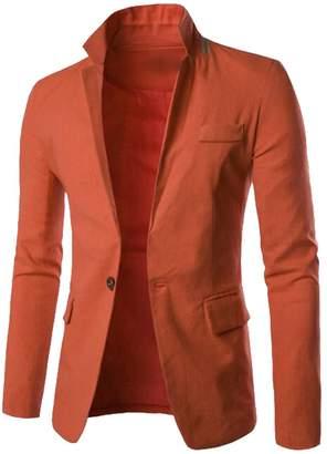 b7caf9e10851 WAWAYA Men s Regular Fit Plain Linen Formal 1 Button Dress Blazer Jacket  Coat Orange Red XL