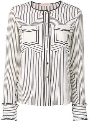 Tory Burch striped collarless blouse