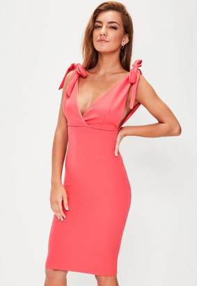 Missguided Pink Bow Shoulder Plunge Midi Dress
