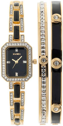 Elgin Womens Black Gold-Tone Watch and Bracelet Set