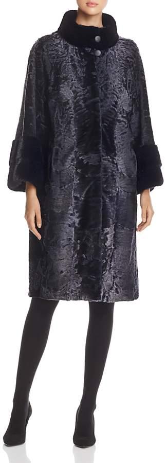 Lamb Shearling Coat with Mink Fur Collar