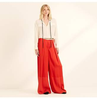 Amanda Wakeley Spice Red Viscose Satin Wide Leg Trousers