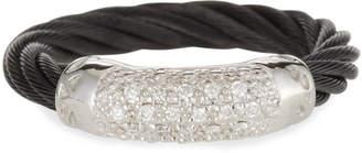 Alor White Diamond Pave Cable Ring, Black