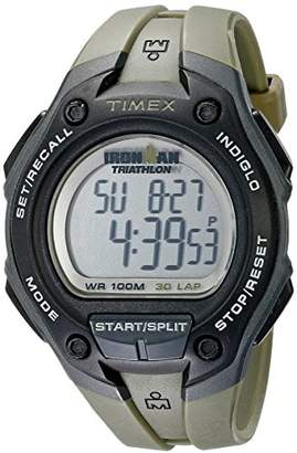 Timex Men's T5K418 Ironman Traditional Digital Black Resin Watch with Green Resin Stripe
