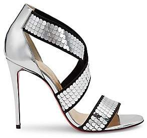 Christian Louboutin Women's Xili Crisscross Metallic Leather Sandals