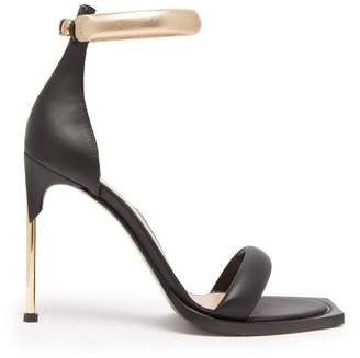 Alexander McQueen Square Toe Leather Sandals - Womens - Black Gold