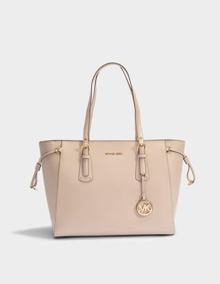 MICHAEL Michael Kors Voyager Medim Top Zip Tote Bag in Soft Pink Crossgrain Leather