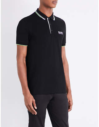 HUGO BOSS Contrast-trim jersey polo shirt
