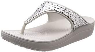 Crocs (クロックス) - [クロックス] ビーチサンダル スローン グラフィック エッチド メタリック フリップ ウィメン 205129 Pearl White/Silver US W6(22 cm)