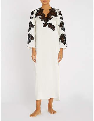 Marjolaine Lace-trim stretch-silk slip dress