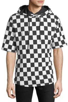 PRPS Men's Checkered Short-Sleeve Hoodie