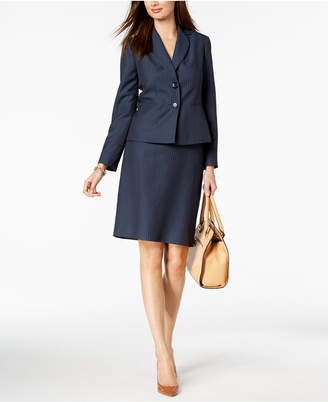 Le Suit Two-Button Pinstriped Skirt Suit