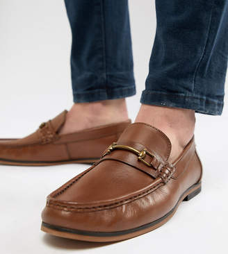 Asos Design DESIGN Wide Fit Loafers In Tan Leather With Snaffle