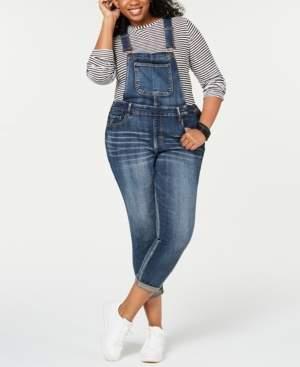 Dollhouse Juniors' Plus Size Skinny Denim Overalls