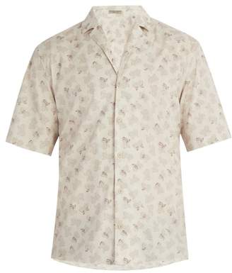 Bottega Veneta Butterfly Print Cotton Shirt - Mens - Beige Multi