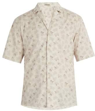 Bottega Veneta - Butterfly Print Cotton Shirt - Mens - Beige Multi
