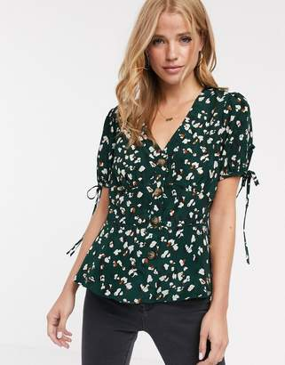 Brave Soul gulia tea blouse with tie sleeve detail