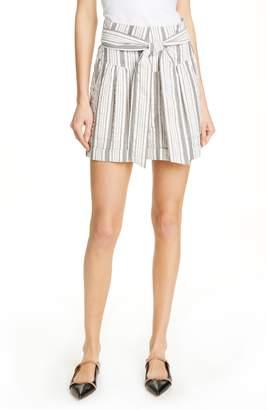 Rebecca Taylor Stripe Tie Waist Cotton Shorts