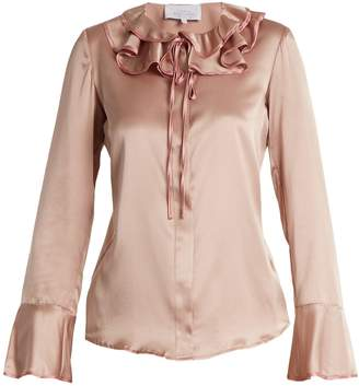 Luisa Beccaria Ruffled tie-neck silk-blend satin blouse