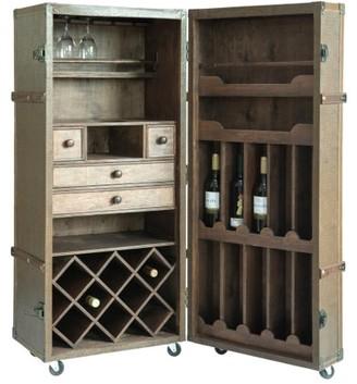 Vintiquewise Vintage Crocodile Leather Wine Bar Cabinet with Lockable Latch