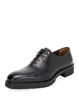 Salvatore Ferragamo Men's Burlap Lug-Sole Lace-Up Shoes