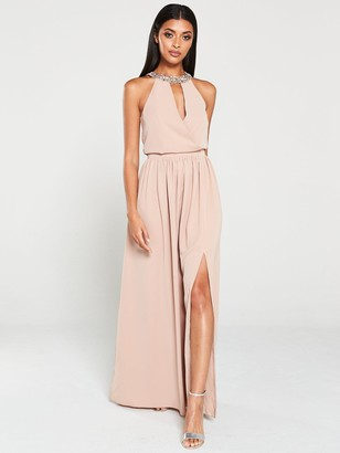 Little Mistress Hand-Embellished Halter Maxi Dress - Mink