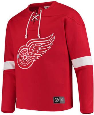 Majestic Men's Detroit Red Wings Breakaway Lace Up Crew Sweatshirt