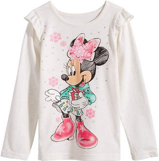 Disney Little Girls Minnie Mouse Snowflake T-Shirt