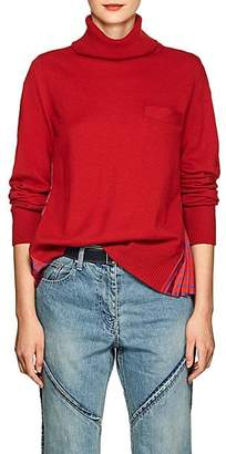 Sacai Women's Floral-Satin-Back Wool Sweater - Red, Blue