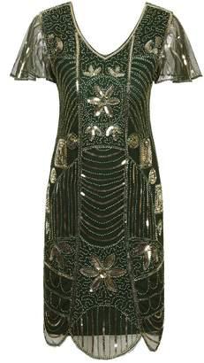 Vijiv Vintage 1920s Short Prom Deco Sequin Embellished Flapper Dress With Sleeve
