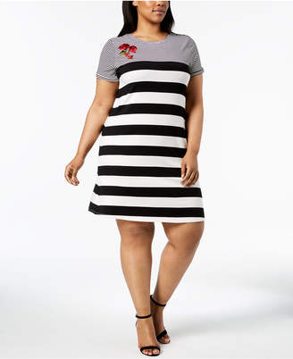 Calvin Klein Plus Size Embroidered Striped Shift Dress
