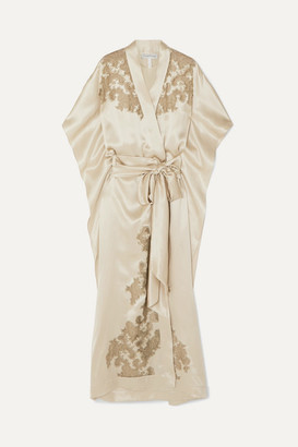 Carine Gilson Chantilly Lace-trimmed Silk-satin Robe - Gold