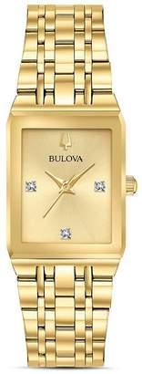 Bulova Futuro Quadra Gold-Tone Link Bracelet Watch, 20mm x 32mm