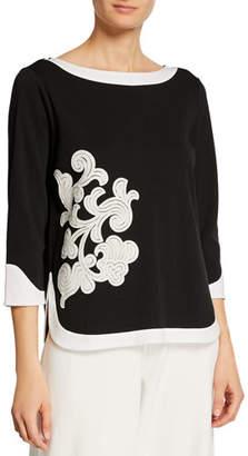 Joan Vass Colorblock 3/4 Sleeve Floral Applique Top