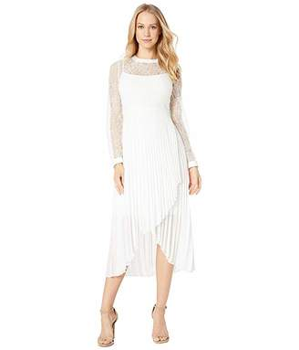 BCBGMAXAZRIA Long Sleeve Pleated Cocktail Dress