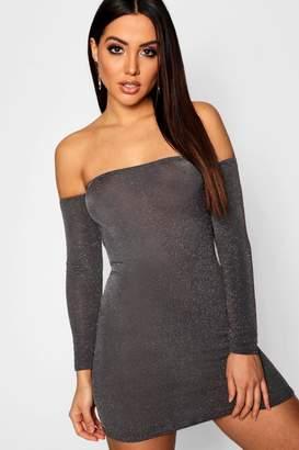 boohoo Glitter Off The Shoulder Mini Dress
