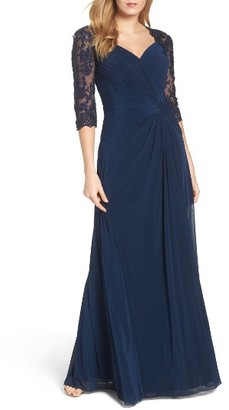 Women's La Femme Lace & Net Ruched Twist Front Gown $468 thestylecure.com