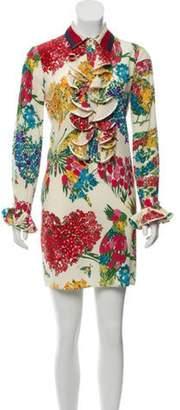Gucci Floral Print Ruffle Trim Shirt Dress w/ Tags w/ Tags Beige Floral Print Ruffle Trim Shirt Dress w/ Tags w/ Tags