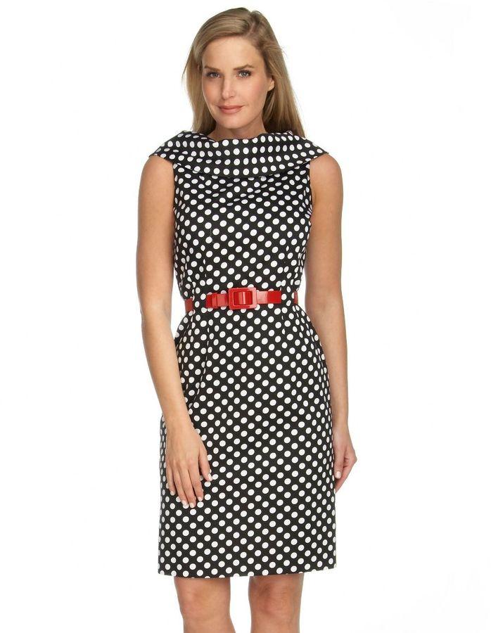 Tahari by asl polka-dot dress