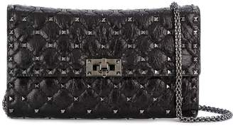 Valentino Rockstud Spike Leather Clutch With Chain