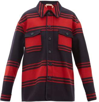 No.21 No. 21 - Striped Wool Blend Jacket - Womens - Red Navy