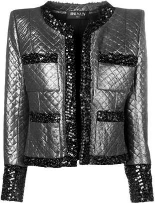 Balmain padded tweed jacket