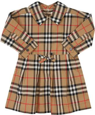 Burberry Check Print Cotton Poplin Dress