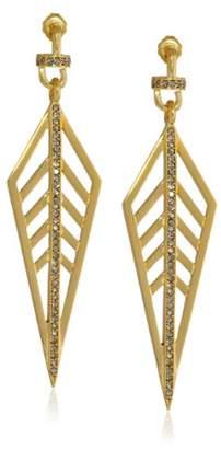 Paige Novick PHUN by Earring -Plated Pave Crystal Diamond-Shape Drop Earrings